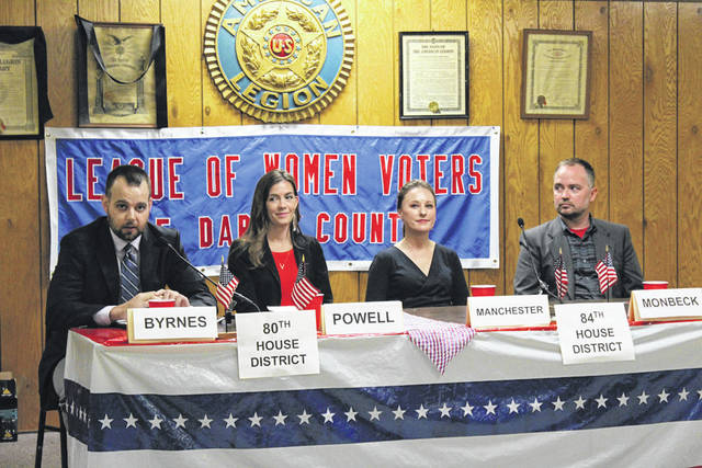 Candidates for Ohio's 80th House District and 84th House District made their case Tuesday during the Darke County League of Women Voters Candidate Night. Pictured, from left, are D.J. Byrnes, Jena Powell, Susan Manchester and Joseph Monbeck.