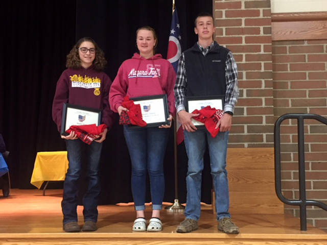 Versailles FFA members (l-r) Madison Henry, Breanna Nieport, and Noah Barga were named the Versailles FFA members of the month.