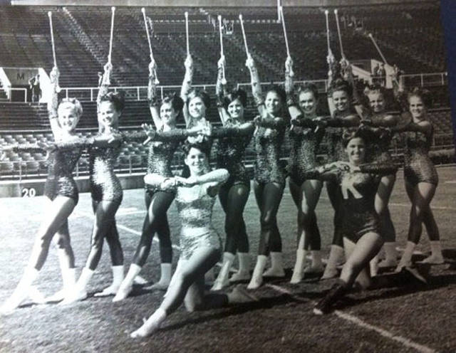 The 1968 Sweetheart Majorettes will reunite during Saturday's University of Kentucky football game. Pictured (front row, l-r) are featured twirler Cherie Hubbard Roeth, Bradford, Ohio; featured twirler Joanne Windish Ingram Harrisburg, Pennsylvania; (back row, l-r) Nancy Carter Walton, Ohio, deceased; Sally Moore Barnhart, Lexington, Kentucky; Dee Hawkins Chavez, Morehead, Kentucky; Nancy Bowles, Kentucky, deceased; Chris Carter Schultz, Louisa, Kentucky; Kathy Norris, Kentucky; Debbie Castle Craft, Louisa, Kentucky; Frankie Bratton Jeffery, Scottsville, Kentucky; Lynda Williams Closson, Stanford, Kentucky; and Shana Turner Snook, Louisa, Kentucky.