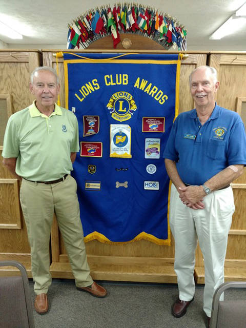 Errol Klem and Lion Owen Griffith are pictured at the Union City Lions' meeting on Oct. 9.