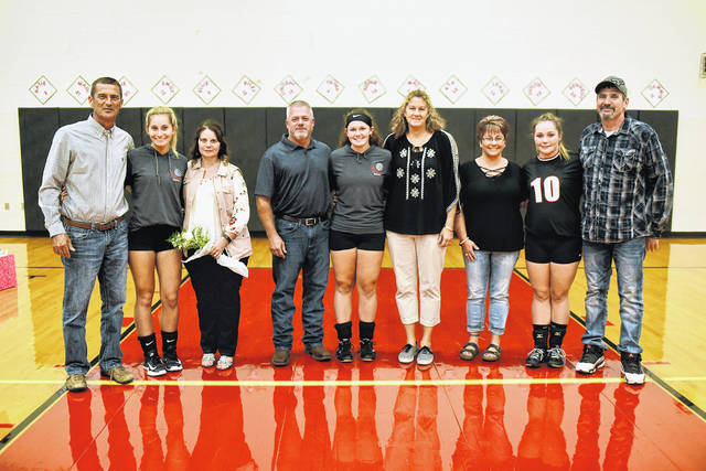 Mississinawa Valley held its Senior night for the volleyball team honoring three seniors on Tuesday prior to a Cross County Conference match with Franklin-Monroe. The three seniors pictured from left to right with their families are Olivia Murphy, Sidnie Hunt and Macy Stewart.