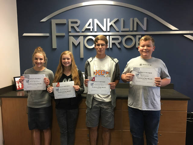 Alaina Blackburn and Nicole Brocious were named Franklin Monroe's students of the month for September 2018, and Zach Garber and Nathaniel Davis were named FM's students of the month for October 2018. The students were recognized for their outstanding contribution to Franklin Monroe Schools both in and out of the classroom. Vint's Family Restaurant and Rapid Fired Pizza in Greenville provided coupons for the students.