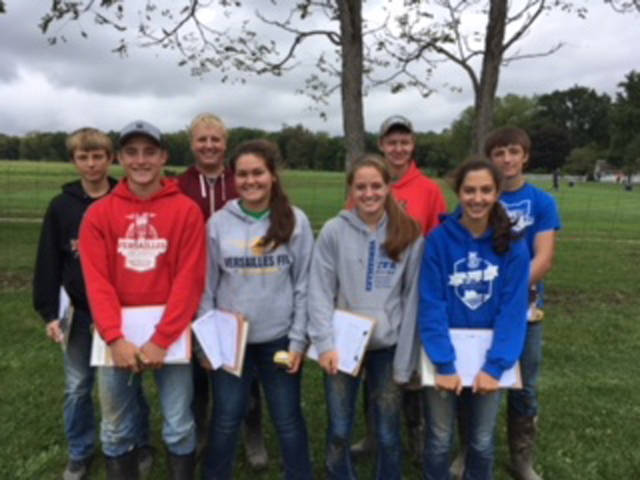 Versailles FFA first place district soil judging participates included (front row, l-r) Cole Luthman, Kayla Bohman, Caitlyn Luthman, Grace McEldowney, (back row, l-r) Caleb Kaiser, Dallas Hess, Jacob Wuebker and Alex Kaiser.