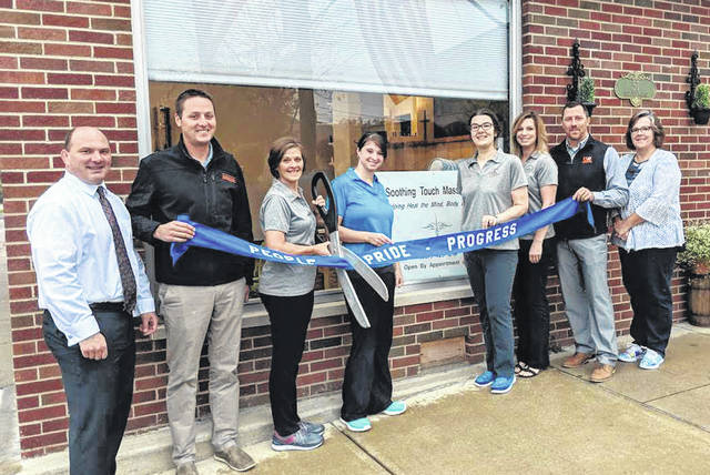 A Versailles Area Chamber of Commerce ribbon cutting was held Oct. 15 to celebrate the opening of A Soothing Touch Massage, 55 W. Main St., Versailles, owned by Colleen McKnight. Soothing Touch will hold a grand opening celebration Oct. 26. Pictured at the ribbon cutting, from left to right, are VACC members Aaron Moran, Matt Poeppelman, owner and LMT Colleen McKnight, LMTs Sarah Kaiser, Carolyn Combs, Shelly Martin, VACC members Jerry Bey and Paula Darnell.
