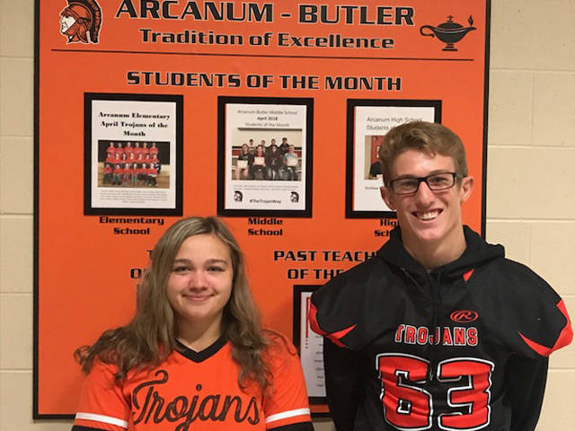 Makenna Gunckel and Austen Cutarelli were named Arcanum High School Students of the Month for September.