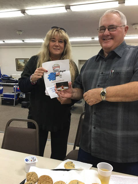 Melinda Frech (left), coordinator of the Union City Lions blood drive from the Community Blood Center, is pictured with drawing winner Mark Cline.
