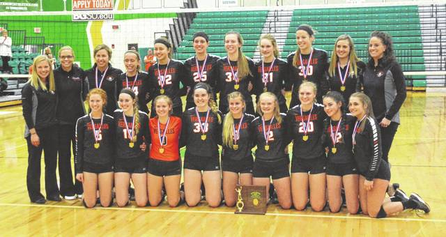 The Versailles volleyball team won its fifth consecutive district championships on Saturday after defeating Cincinnati Hills Christian Academy in four sets in the Division III district finals at Northmont.
