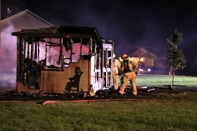 Firefighters were able to quickly knock down and control a shed fire before it was able to spread to the neighboring structure.