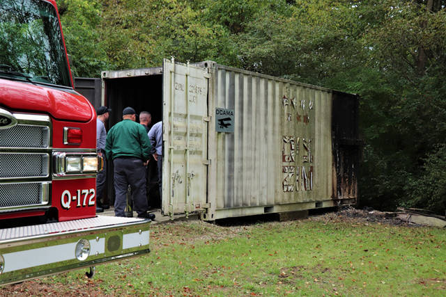 Authorities on scene think a fire at Landess Field had been started some time over the night and was contained to the outside of a shipping container used for storage, burning itself out before being discovered Friday afternoon.