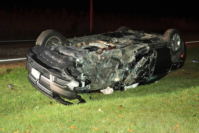 According to the Darke County Sheriff's Department, a black Dodge Charger was traveling southbound on State Route 49 on Wednesday morning when the vehicle left the right side of the roadway and rolled at least once before coming to rest on its top.
