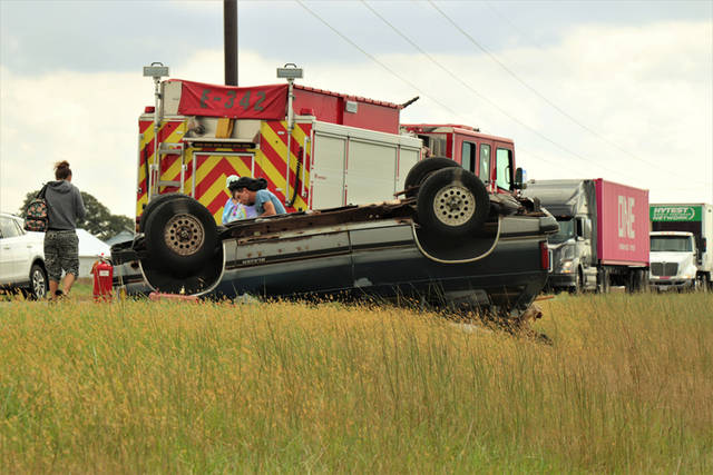 One passenger was treated for minor injuries and transported to Wayne Healthcare following a rollover crash on Wednesday on State Route 49.