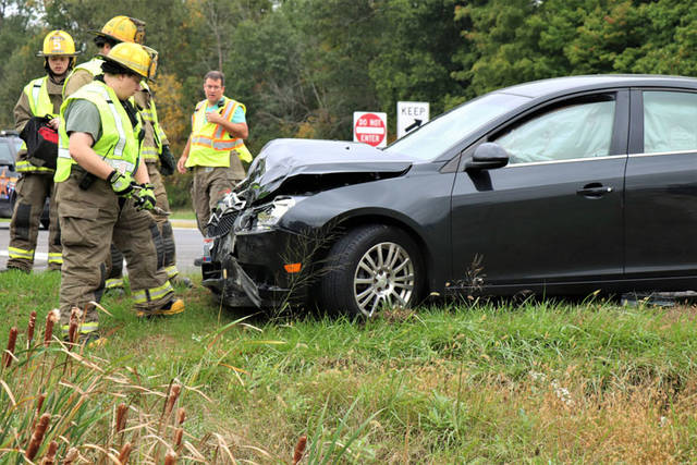 Two drivers suffered minor injuries in a crash Wednesday afternoon at U.S. Route 127 and Kruckeberg Road.