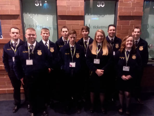 Franklin Monroe MVCTC FFA members pause for a photo during the National FFA Convention. Members attending included (back row, l-r) Austin Cool, Morgan Baker, Clem Montgomery, Brendan Wray, Jacob Winterrowd, Walker Lindemuth, (front row, l-r) Kolby Rogers, Kaden Spirito, Morgan Hissong and Elisabeth Williams.