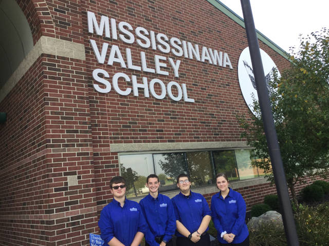The Miami Valley Career Technology Center Student Ambassadors visited Ansonia and Mississinawa Valley on Sept. 19. Student Ambassadors representing MVCTC included Caden Vance (Valley View/robotics and automation), Allen Christman (Ansonia/biotechnology), Carter Ward (Ansonia/graphic commercial art) and Emma Price (Tri-Village/cosmetology).