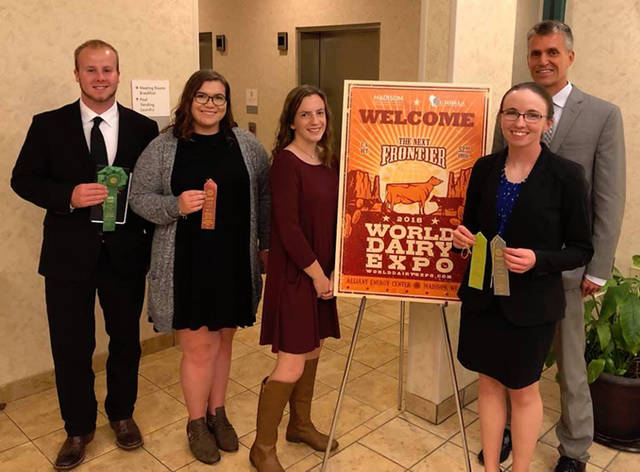 Wright State University-Lake Campus students (l-r) Kyle Maurer, Anna; Paige Matthews, Celina; Chelsea Skidmore, Union City; Emily Shellabarger, Laura; and Lake Campus Associate Professor Greg Homan attended the World Dairy Expo.
