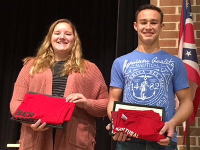Anna Barlage and Franklin Shimp were named FFA members on the month at the November FFA meeting.