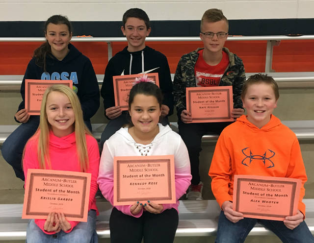 Arcanum-Butler Middle School announced its October students of the month. Pictured are (back row) Eleanor Knaus, Kolin Frazee, Nate Kessler, (front row) Krislin Garber, Kennedy Rose and Alex Wooten. Not pictured are Arianne Garrison and Micah Arbogast.