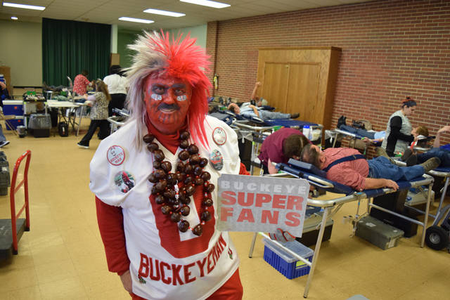 Buckeyeman Larry Lokai is pictured at the 2017 Darke County Ohio State Alumni Club Tailgate Blood Drive.