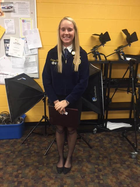 Colleen Gehret competed at the District Job Interview Contest and placed first in her senior division. She will compete at the state contest.