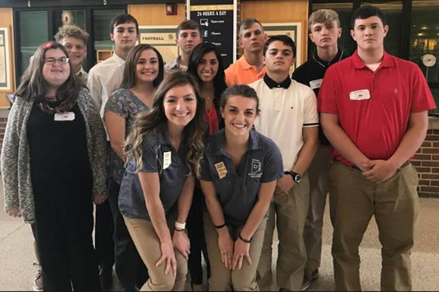 Union City students attending the Indiana DECA Fall Leadership Conference were (front row, l-r) Sophia Spence, Reagan Hoggatt, (middle row, l-r) Lyndsee Mills, Sydney Ralston, Emalee Bocanegra, Jacob Curry, Gavin Teeter, (back row, l-r) Josh Crawford, Gabe Addington, Kyle Buckingham, Mason Good and Hunter Reagan.