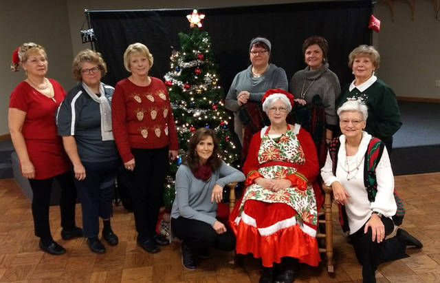 Greenville BPW Club Breakfast with Santa Committee members include (back row) Gail Snyder, Dara Buchy, Leigh Fletcher, Vicki Cost, Sue Huston, Diana Frazier, (front row) Susan Fowble, Karen Sink (Mrs. Santa) and Peggy Foutz.