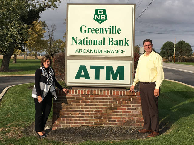 Greenville National Bank was a Gold Sponsor of the third annual Fall into Christmas Food Truck Rally & Craft Show. Pictured are Arcanum Branch Manager Amy Huber and Assistant Vice President and Loan Officer Tom Ording from Greenville National Bank.