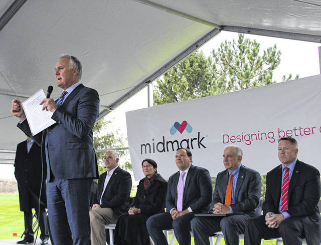 "Midmark President and CEO John Baumann addresses well-wishers at the groundbreaking of Midmark's 107,000-square-foot expansion, Friday, Nov. 2. He said the company's expansion ""will be progressive and timeless."""