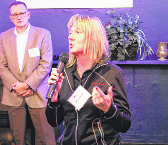 New Whirlpool Plant Leader Jenni Hanna introduced herself at the Partnering For Progress gathering Wednesday evening.