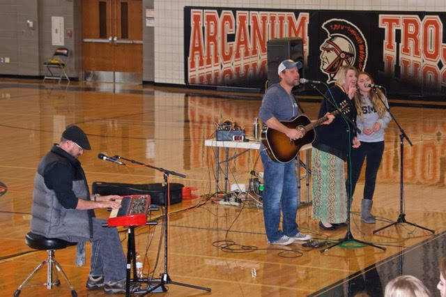 Award-winning singer/songwriters Jonathan Kingham and Ryan Shea Smith recently performed for Arcanum High School students as part of DCCA's Arts In Education programming for Darke County high school students.