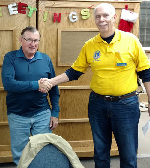 Len Hindsley is the newest Union City Lion. Hindsley, who was sponsored by Lion Kevin Lehman, was inducted into the club on Tuesday. He is pictured with Lions Secretary Owen Griffith.