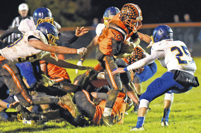 Ansonia's Matthew Shook ran for 110 yards and two touchdowns in Saturday's Division VII, Region 28 playoff game against Sidney Lehman Catholic. The Cavaliers won 29-28 on a late fourth-quarter field goal.