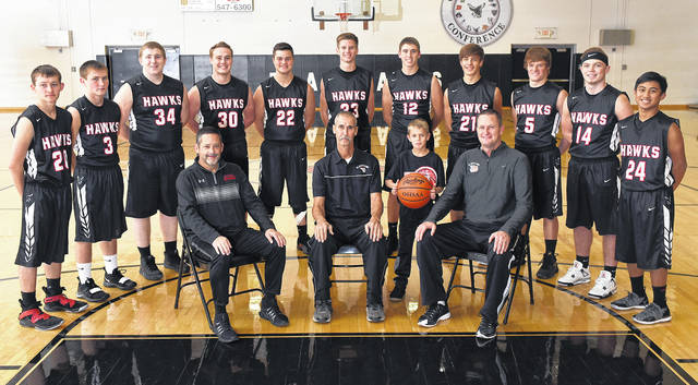 The 2018-19 Mississinawa Valley boys basketball team.