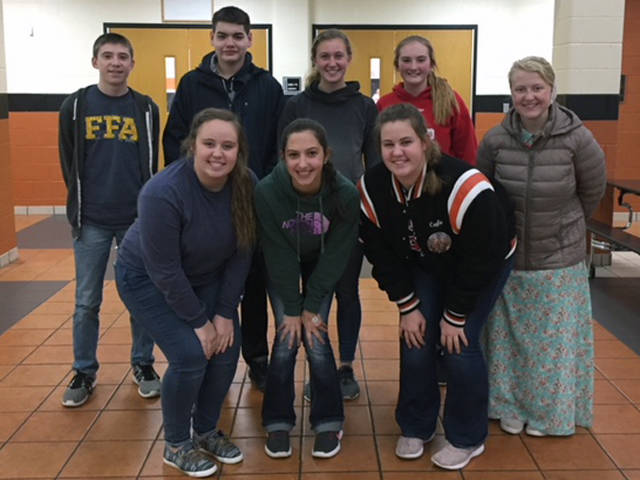Members of the Versailles FFA who competed at the District 5 Food Science and Technology Contest in Coldwater consisted of (front row, l-r) Courtney Batten, Grace McEldowney, Cayla Batten, (back row, l-r) Caleb Fraley, Zach Watren, Emma Peters, Mallory York and Shiloh Hess.