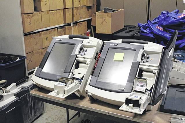 Darke County will receive $650,000 from the state for new voting machines. Elections Director Luke Burton, however, worries it may not be enough to replace the current model (shown), many of which have been repaired with tape and glue.