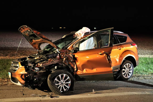 An orange Ford Escape hit the back end of a red Hyundai Santa Fe in a crash on U.S. Route 127.