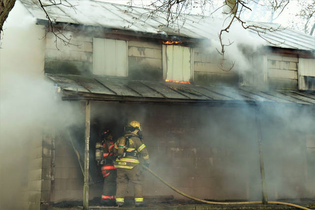 Crews battled a fire at a vacant home on Friday in Gettysburg. Although the house had been unoccupied since the 1970s, it was used for years as storage for farming supplies.