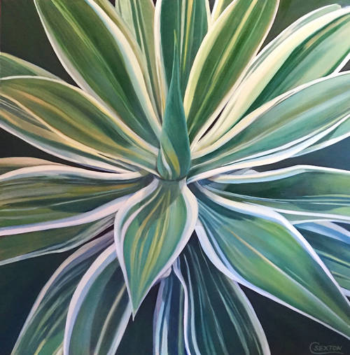 """Proud Agave"" oil on canvas by Carol Sexton is displayed."