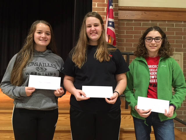 High school division point winners include (l-r) first place Tori Wuebker, second place Cayla Batten and third place Maddy Henry.