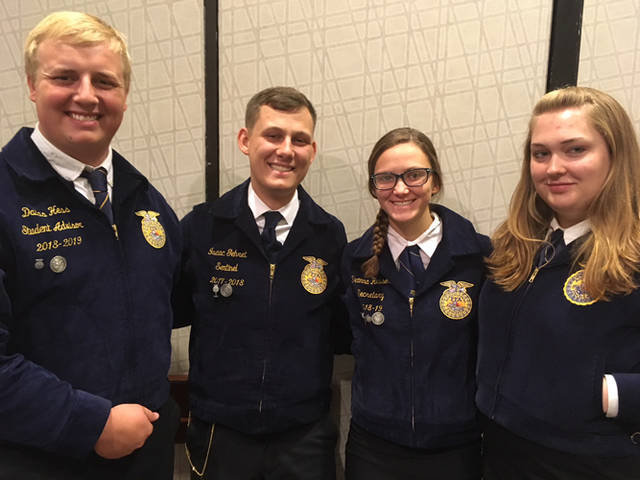 Versailles' Agricultural Sales team competed in the national competition and placed 16th overall. Members of the Ag Sales team include (l-r) Dallas Hess, Isaac Gehret, Deanna Hesson and Jamie Hart.