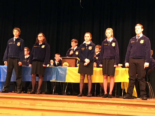 Greenhands presented the FFA creed, which was one of their requirements for their Greenhand degree. Presenters included (l-r) Joe Ruhenkamp, Asheleigh Shimp, Kylee Hainline, Lexie Demange and Isaiah Hess.