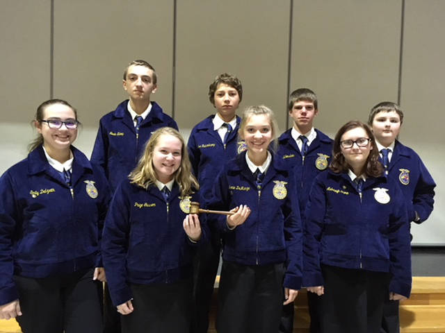 The Versailles FFA eighth grade Parliamentary Procedure competed in the Novice division. Team members that competed included (back row, l-r) Noah Shimp, Joe Ruhenkamp, Darren Billenstein, Koltin Hall, (front row, l-r) Emily Delzeith, Paige Gasson, Lexi DeMange and Ashleigh Shimp.