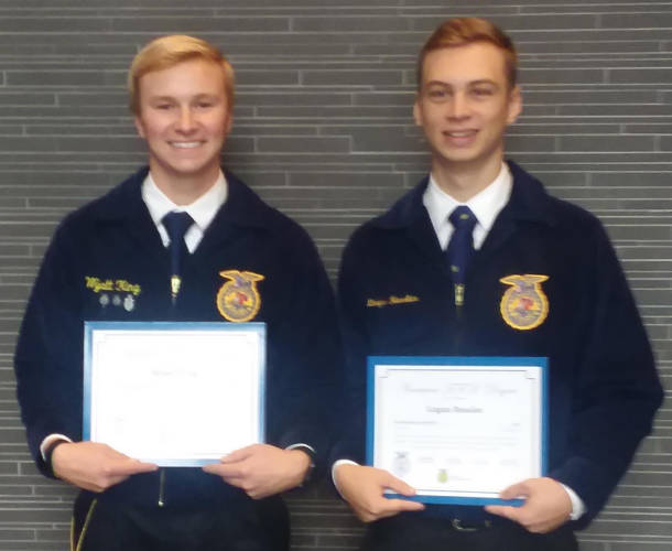Wyatt King and Logan Ressler received their American FFA Degrees at the 91st National FFA Convention held in Indianapolis, Indiana.