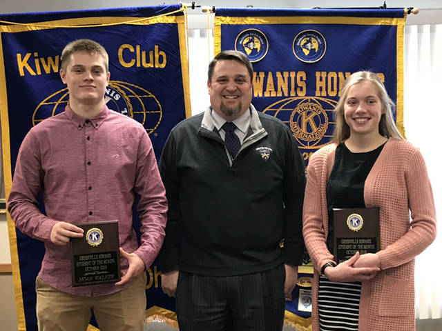 Greenville Kiwanis Club recognized Noah Walker (left) and Marabelle Lance (right) as its students of the month for October 2018. They are pictured with Greenville High School Principal Stan Hughes.