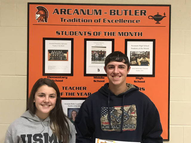 Aidan O'Brien and Brody Williams were named Arcanum High School's students of the month for November.