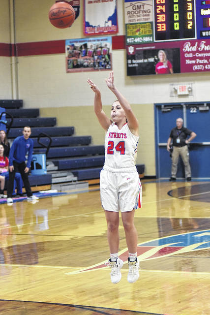 Tri-Village point guard Andi Bietry scored 14 points to lead the Patriots to an early season win over Franklin-Monroe on Thursday, 43-40.