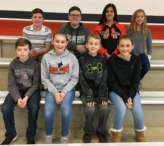 Arcanum-Butler Middle School announced its November Students of the Month. Pictured are (front row) Noah Warren, Lily Hayes, Caleb Wiant, Meridith Laux (back row) Luke Henninger, Dominic Davis, Sarah Koehl and Laney Edwards.