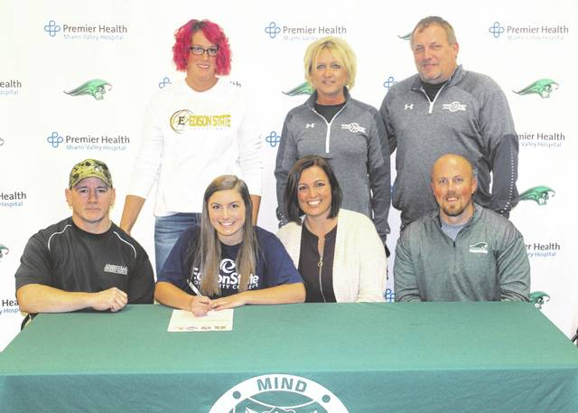 Greenville senior Brooke Stachler (seated second from left) signed her letter of intent on Monday night to continue playing volleyball at Edison State Community College next fall. Also seated from left to right are Brooke's father Shane Stachler, her mother Jody Stump and stepfather Tyler Stump. Standing from left is Edison State assistant volleyball coach Ashley Ryan and Greenville volleyball coaches Michelle and Jim Hardesty.