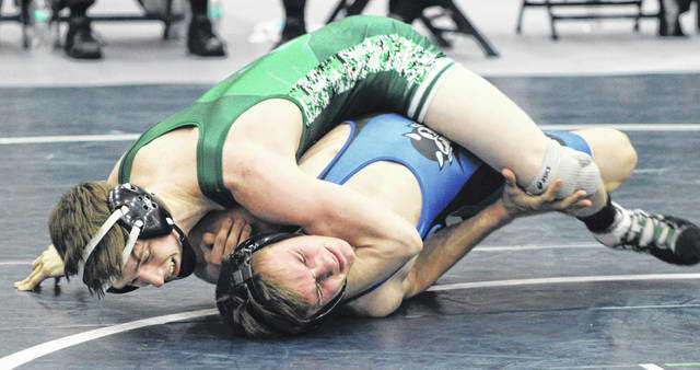 Greenville sophomore Drayk Kallenberger defeated Brookville's Bailey Larson by tech fall 15-0 to win his 113-pound weight class title on Saturday at the Edgewood Invitational.