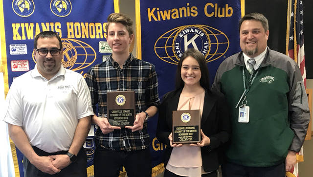 Greenville Kiwanis Club recognized Dylan Snyder (second from left) and Chloe Cox (third from left) as its students of the month for November 2018. They are pictured with Kiwanis of Greenville President Greg Zechar (left) and Greenville High School Principal Stan Hughes (right).