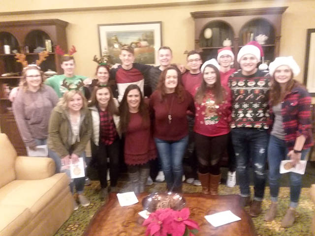 The Franklin Monroe-MVCTC FFA chapter members pause for a group photo while out spreading Christmas cheer at the local assisted living communities.